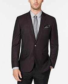 Men's Slim-Fit Burgundy & Black Grid Dinner Jacket, Online Only