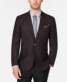 Kenneth Cole Reaction Men's Slim-Fit Burgundy & Black Grid Dinner Jacket, Online Only