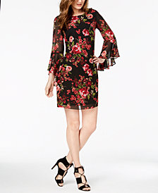Nine West Floral Chiffon Bell-Sleeve Dress