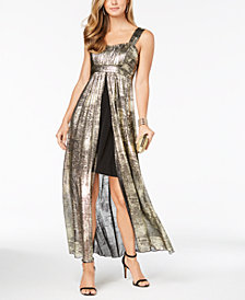 Connected Petite Metallic Split Maxi Dress