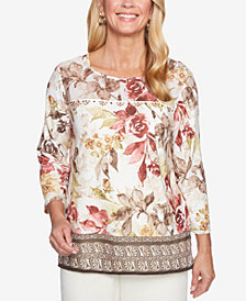 Alfred Dunner Petite Sunset Canyon Mixed-Print Embellished Top
