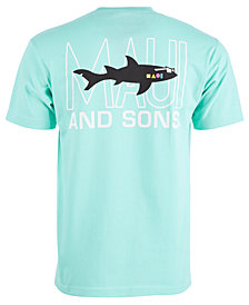 Maui and Sons Men's Retro Shark Logo Graphic T-Shirt