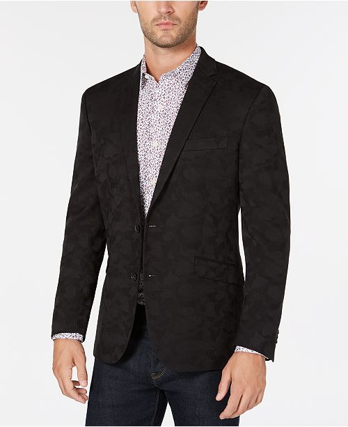 Kenneth Cole Reaction Men's Slim-Fit Black Camouflage Sport Coat, Online Only