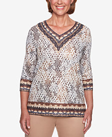 Alfred Dunner Petite Travel Light Border-Trim Printed Top
