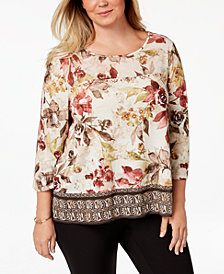 Alfred Dunner Plus Size Embellished Printed Top, Created for Macy's