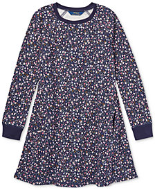 Polo Ralph Lauren Big Girls Floral-Print Cotton French Terry Dress