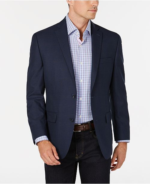 beb1e7f8f9f4 Michael Kors Men s Classic-Fit Blue Tan Plaid Sport Coat   Reviews ...