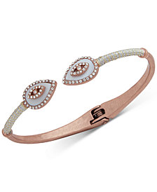 lonna & lilly Rose Gold-Tone Crystal & Imitation Mother-of-Pearl Evil-Eye Cuff Bracelet