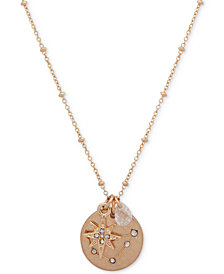 "lonna & lilly Gold-Tone Pavé & Stone Zodiac Pendant Necklace, 16"" + 3"" extender, Created for Macy's"