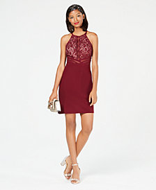Morgan & Company Juniors' Illusion Lace Bodycon Dress