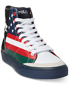 Polo Ralph Lauren Men's Solomon Flag-Print Sneakers, Created for Macy's