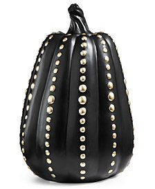 CLOSEOUT! Martha Stewart Collection Halloween Black Pumpkin with Silver Design, Created for Macy's