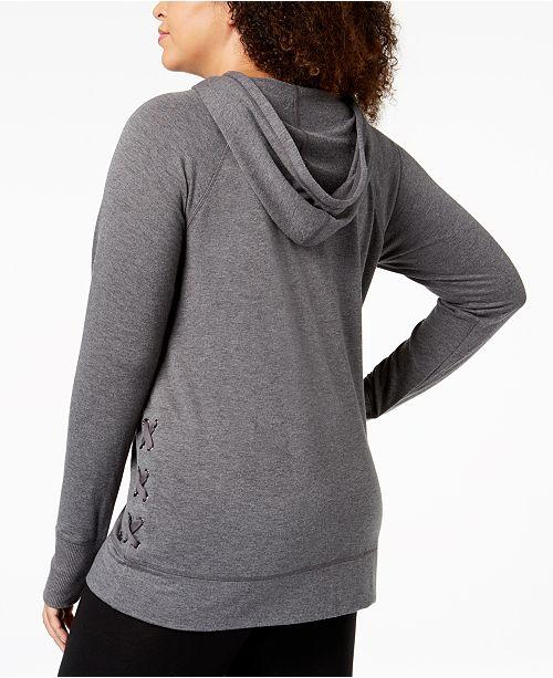 Ideology Created Hoodie Size Macy's Crisscross Plus Sides Charcoal Heathr for U6wqnFPUrx