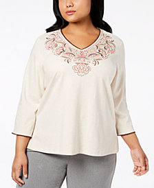 Alfred Dunner Plus Size Embroidered V-Neck Top