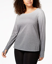Ideology Plus Size Dip-Dyed Long-Sleeve T-Shirt, Created for Macy's