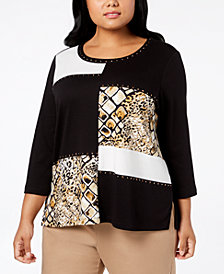Alfred Dunner Plus Size Colorblocked Top