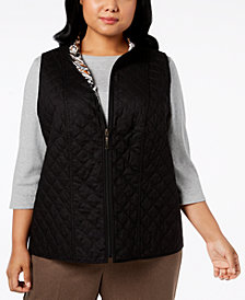 Alfred Dunner Plus Size Travel Light Cotton Reversible Vest