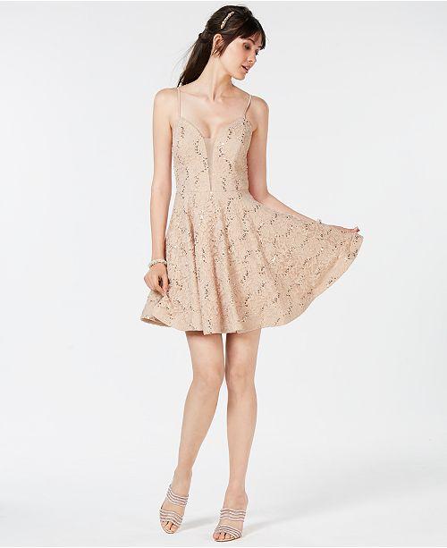 2b8b9823b50 Speechless Juniors  Sequin-Embellished Lace Dress  Speechless Juniors   Sequin-Embellished Lace ...