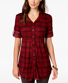 Style & Co Petite Plaid Mesh Shirt, Created for Macy's