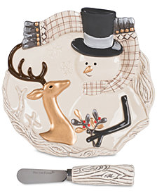 Fitz and Floyd Wintry Woods Snowman Snack Plate & Spreader