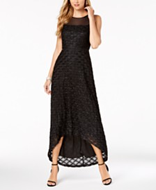 Connected Glitter-Embellished High-Low Illusion Gown