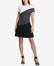 DKNY Asymmetrical Colorblocked Fit & Flare Dress, Created for Macy's