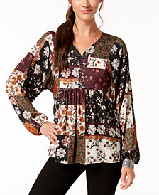Style & Co Patchwork-Print Peasant Top, Created for Macy's