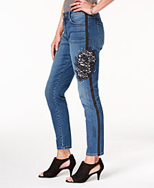 Style & Co Lace-Detail Studded Jeans, Created for Macy's