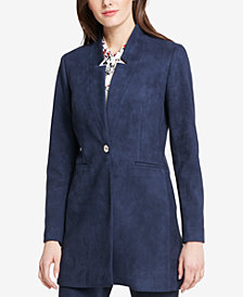 Tommy Hilfiger One-Button Faux-Suede Long Blazer