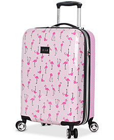 "Betsey Johnson Flamingo Strut 20"" Hardside Carry-On Spinner Suitcase"