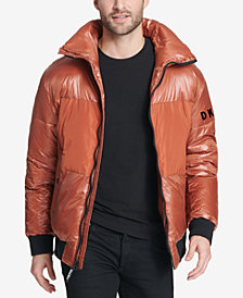 DKNY Men's Mixed Media Puffer Bomber Jacket, Created for Macy's