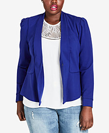 City Chic Faux-Leather-Trim Blazer