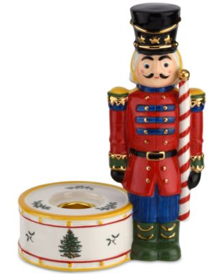 Christmas Tree Nutcracker Candle Holder, Red
