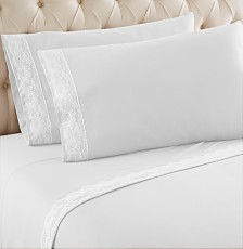 Micro Flannel® California King Lace Edged Sheet Set