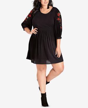 Trendy Plus Size Embroidered Dress in Black