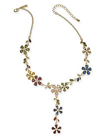 "I.N.C. Gold-Tone Multi-Stone Flower Lariat Necklace, 18"" + 3"" extender, Created for Macy's"