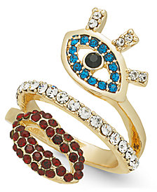 Thalia Sodi Gold-Tone Crystal Evil Eye & Lip Ring, Created for Macy's