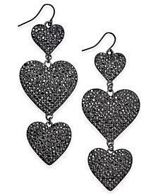 Hematite-Tone Pavé Heart Triple Drop Earrings, Created for Macy's