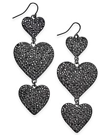 Thalia Sodi Hematite-Tone Pavé Heart Triple Drop Earrings, Created for Macy's