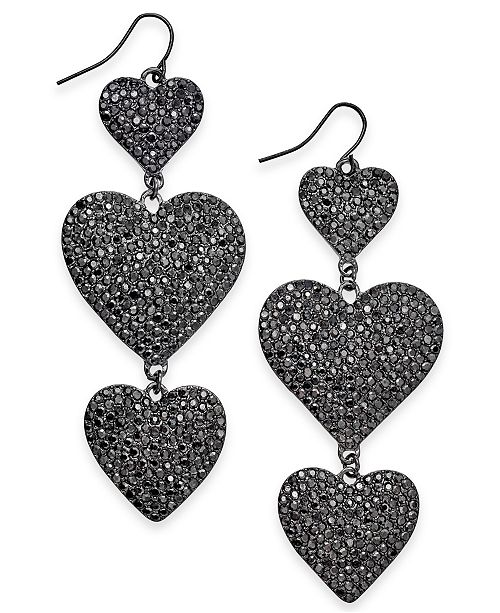 5b2424f7bd6bc Hematite-Tone Pavé Heart Triple Drop Earrings, Created for Macy's