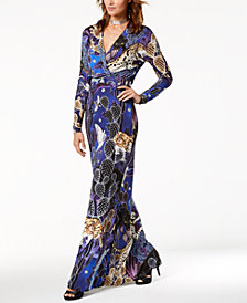 Just Cavalli Printed Surplice Maxi Dress