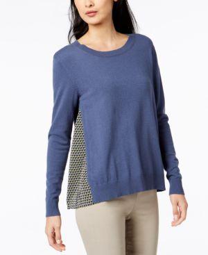 Verusca Mixed-Media Sweater in Avio
