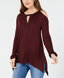 I.N.C. Studded Cold-Shoulder Handkerchief Top, Created for Macy's