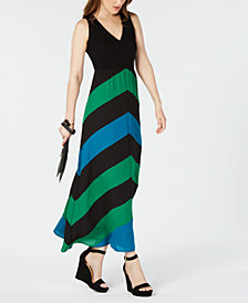 I.N.C. Colorblocked Chevron-Stripe Maxi Dress, Created for Macy's