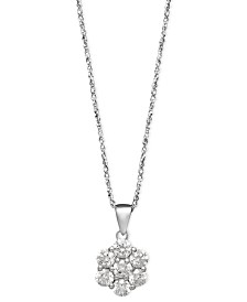 Arabella 14k White Gold Necklace, Swarovski Zirconia Round Pave Pendant (1-3/8 ct. t.w.)