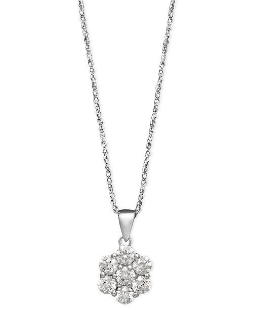 Macy's Arabella 14k White Gold Necklace, Swarovski Zirconia Round Pave Pendant (1-3/8 ct. t.w.)