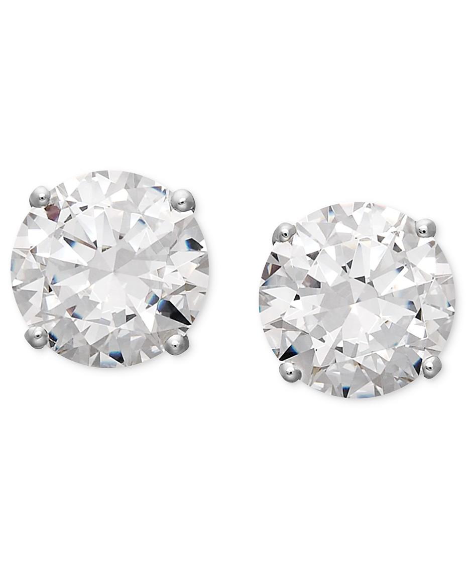 e525b6b66ae9d Arabella 14k White Gold Earrings, Swarovski Zirconia Round Stud ...