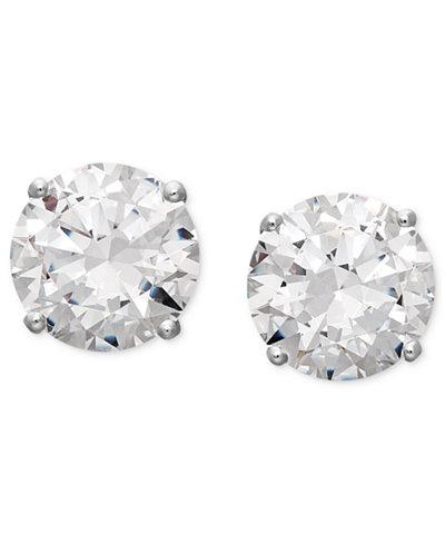 Arabella 14k White Gold Earrings, Swarovski Zirconia Round Stud Earrings (1-3/4 ct. t.w.-6-5/8 ct. t.w.)
