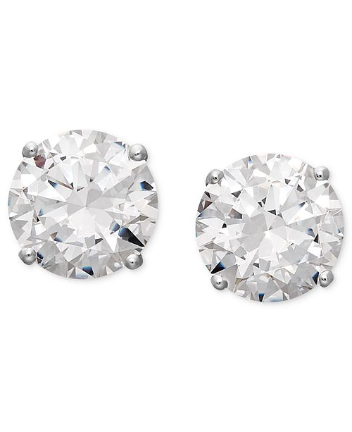 Arabella S Sparkling Stud Earrings Feature Round Cut Swarovski Zirconias 1 3 4 Ct T W 6 5 8 Set In 14k White Gold