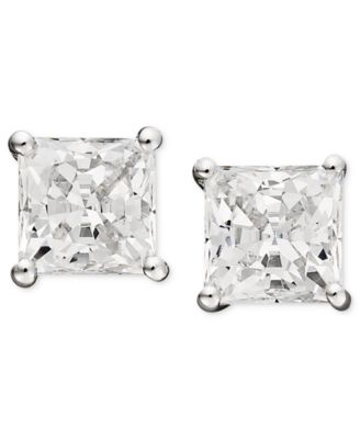 14k White Gold Earrings, Swarovski Zirconia Princess Cut Stud Earrings (2-3/4 ct. t.w.)